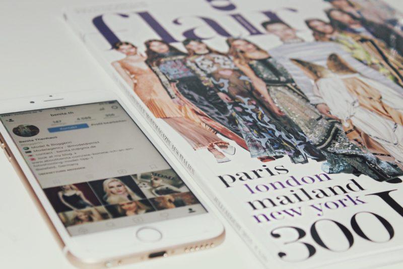 instagram feed und ein fashion magazin