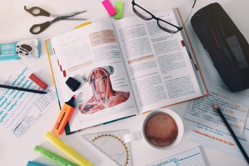 ein aufgeschlagenes anatomiebuch auf dem die muskeln des kehlkopfes zu sehen sind
