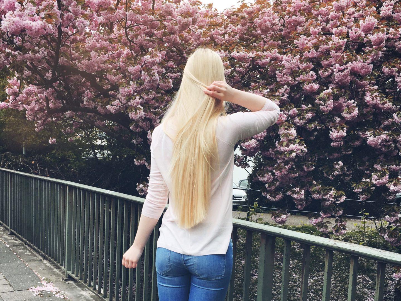 benita steht vor einem kirschbluetenbaum in muenster und zu sehen sind ihre langen blonden haare